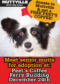 Spread the word: Free coffee at Peet's Coffee in the Ferry Building with all donations going to Muttville!!!