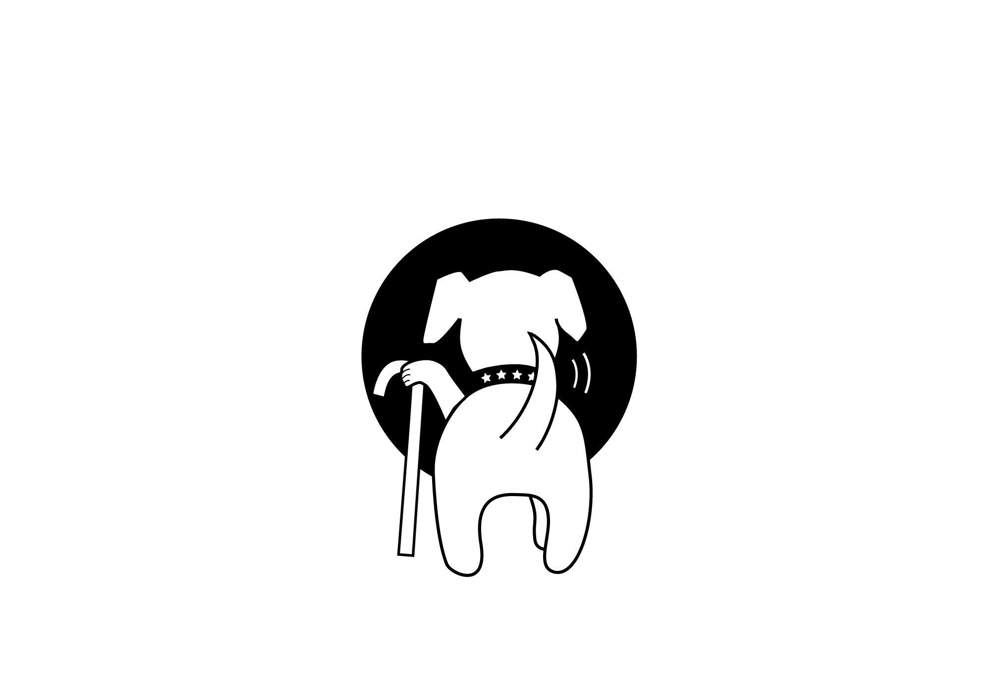 Muttville logo without tagline, single color, for dark backgrounds