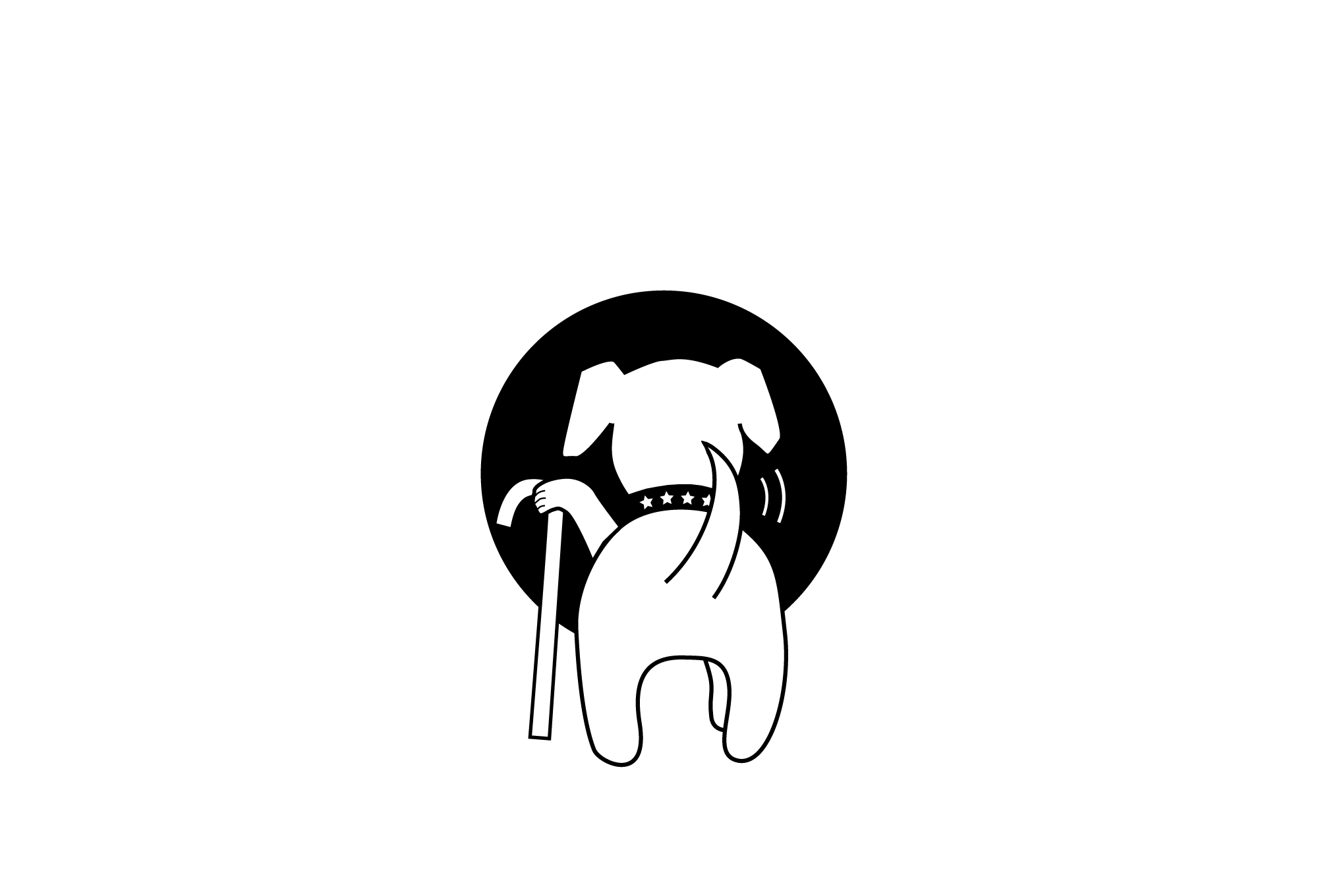 Muttville logo with tagline, single color, for dark backgrounds