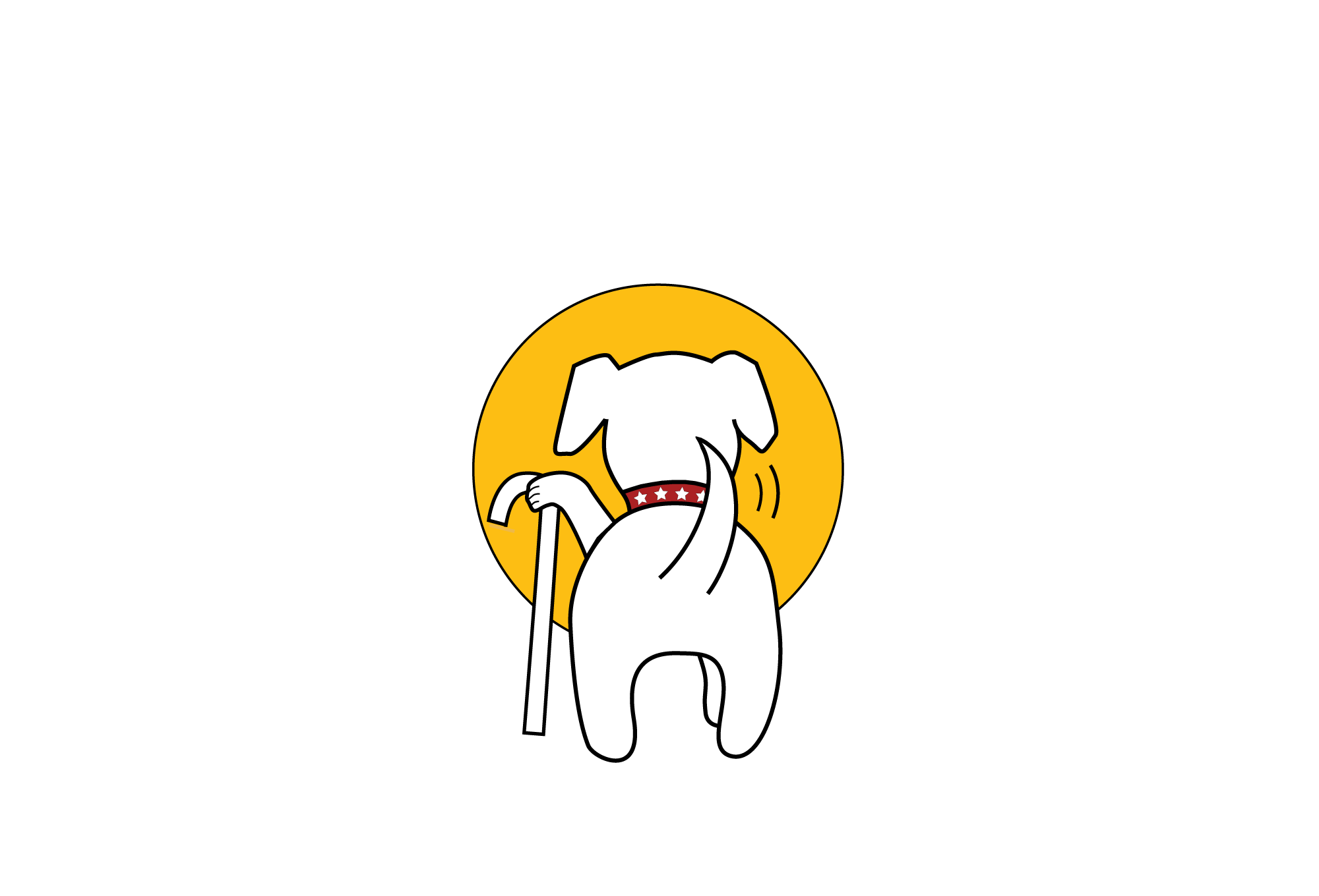 Muttville logo without tagline, full color, for dark backgrounds