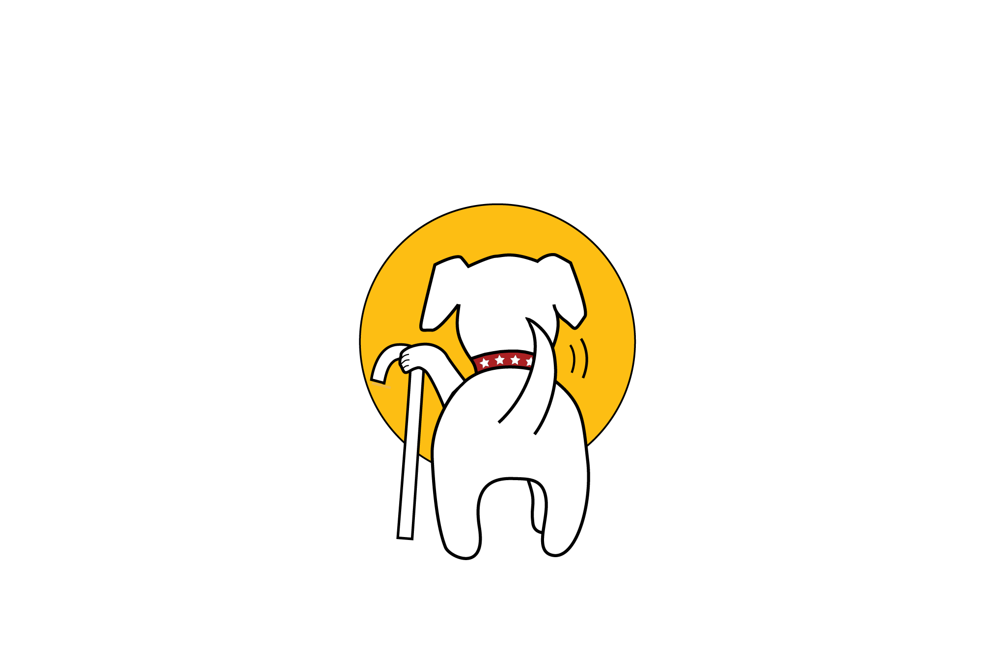 Muttville logo with tagline, full color, for dark backgrounds